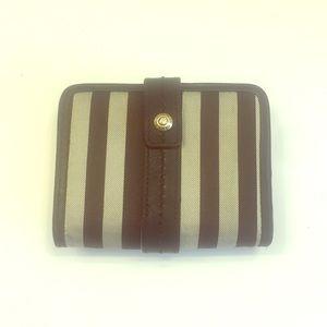 Henri Bendel Brown & White stripe Wallet